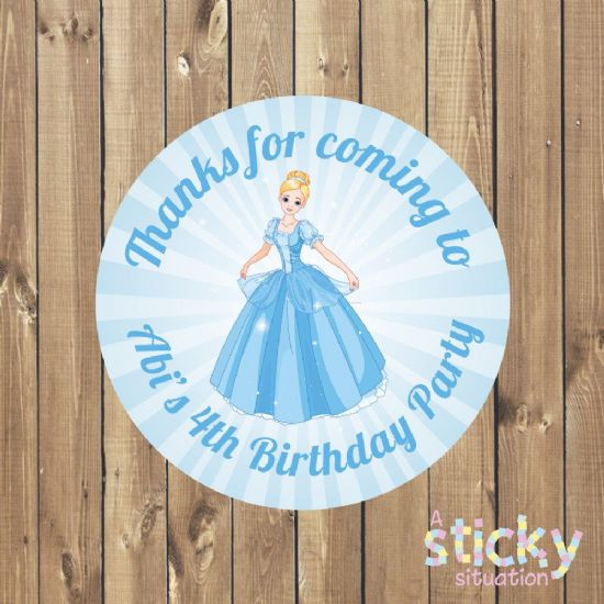 Personalised Cinderella Theme Birthday Party Stickers